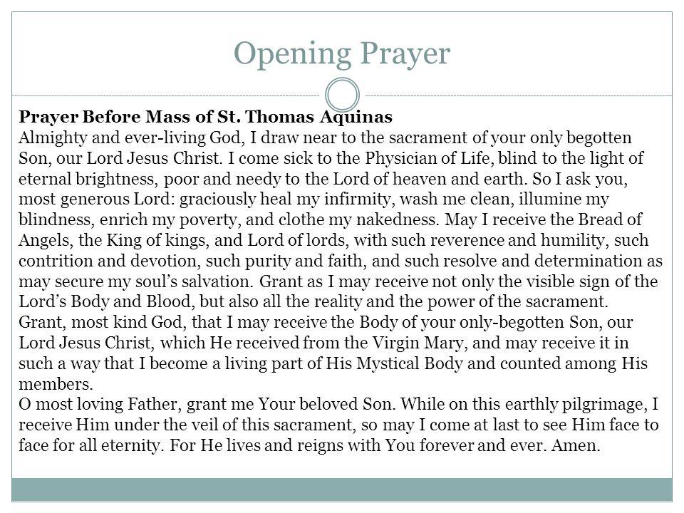 Opening Prayer Prayer Before Mass of St.