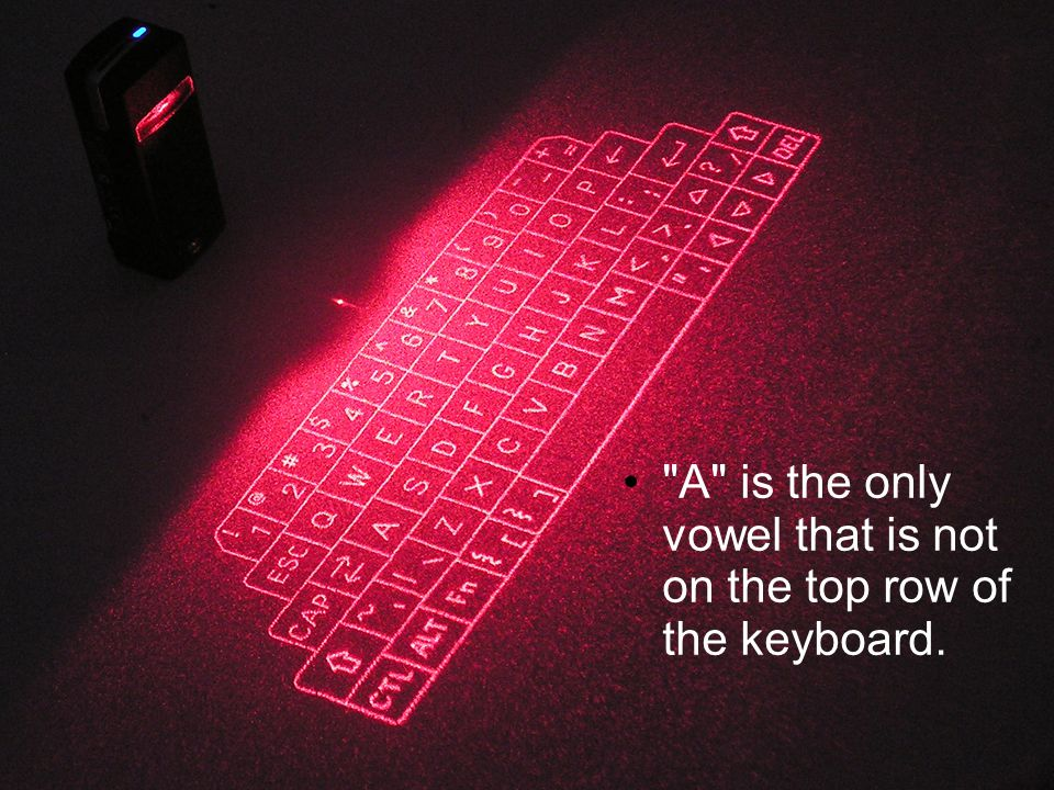 A is the only vowel that is not on the top row of the keyboard.