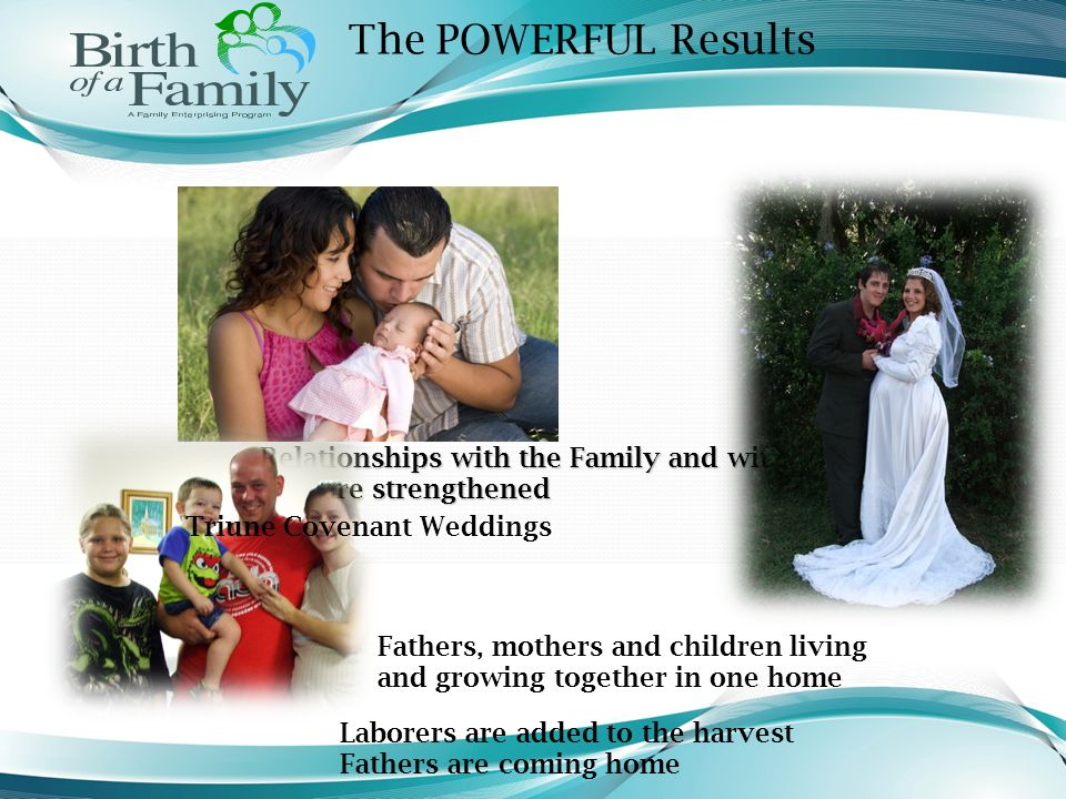 The POWERFUL Results Relationships with the Family and with God are strengthened Fathers, mothers and children living and growing together in one home
