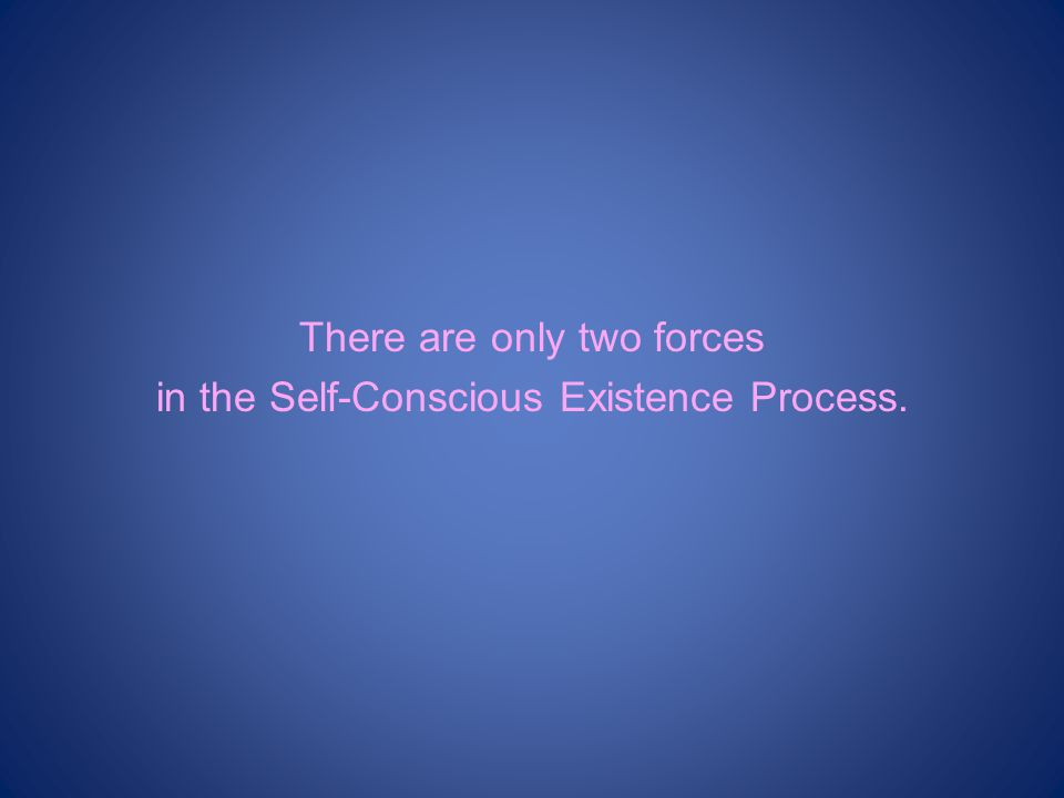 There are only two forces in the Self-Conscious Existence Process.