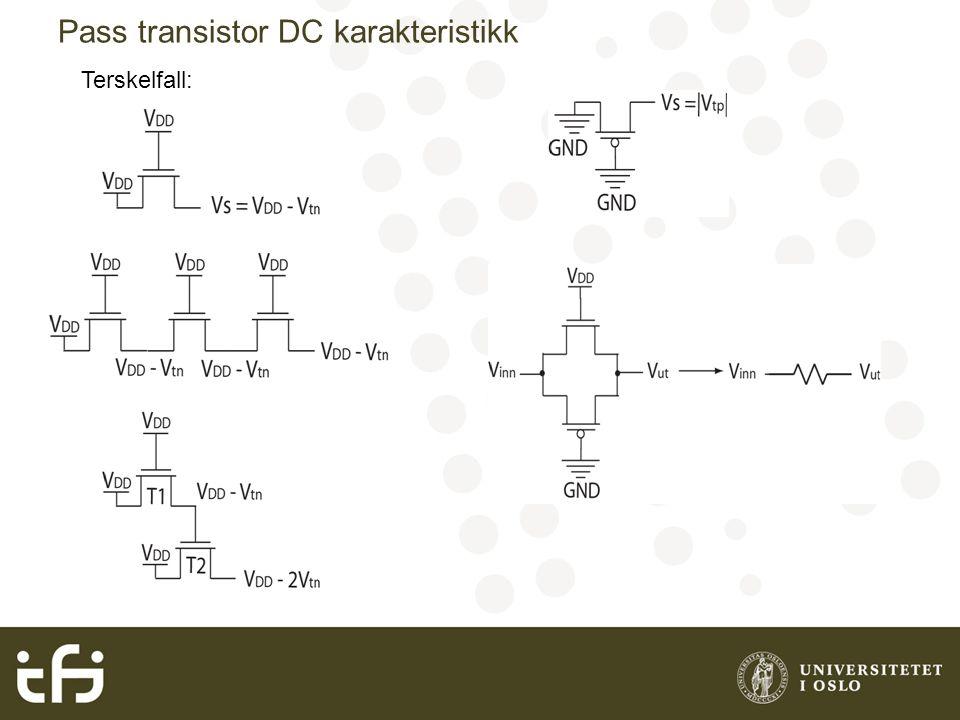 Pass transistor DC karakteristikk Terskelfall: