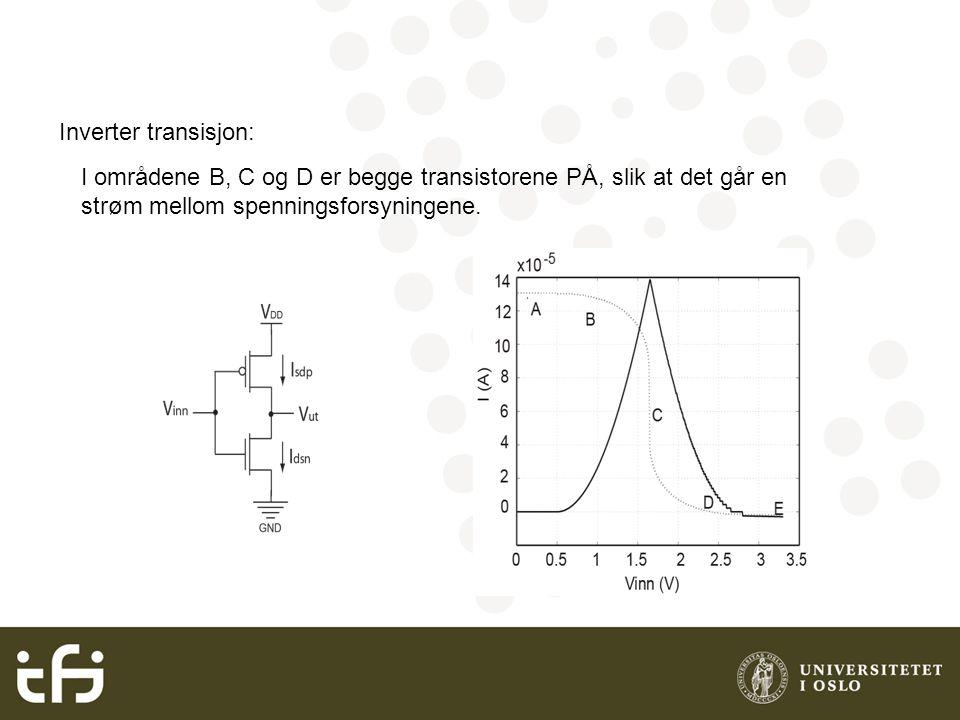 Inverter transisjon: I områdene B, C og D er begge transistorene PÅ, slik at det går en strøm mellom spenningsforsyningene.