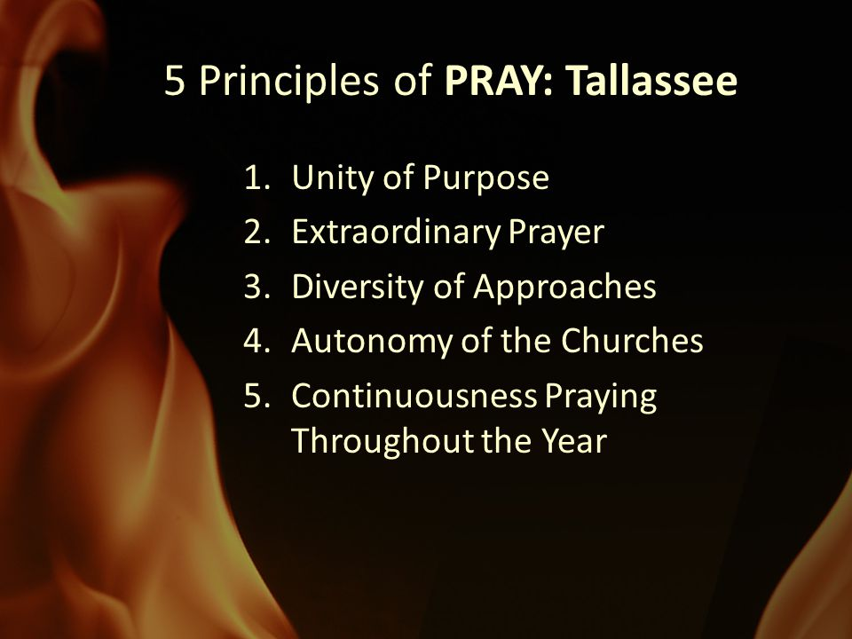 PRAY: Tallassee 5 Principles of PRAY: Tallassee 1.Unity of Purpose 2.Extraordinary Prayer 3.Diversity of Approaches 4.Autonomy of the Churches 5.Continuousness Praying Throughout the Year