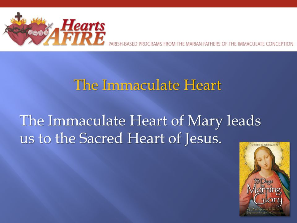 The Immaculate Heart The Immaculate Heart of Mary leads us to the Sacred Heart of Jesus.