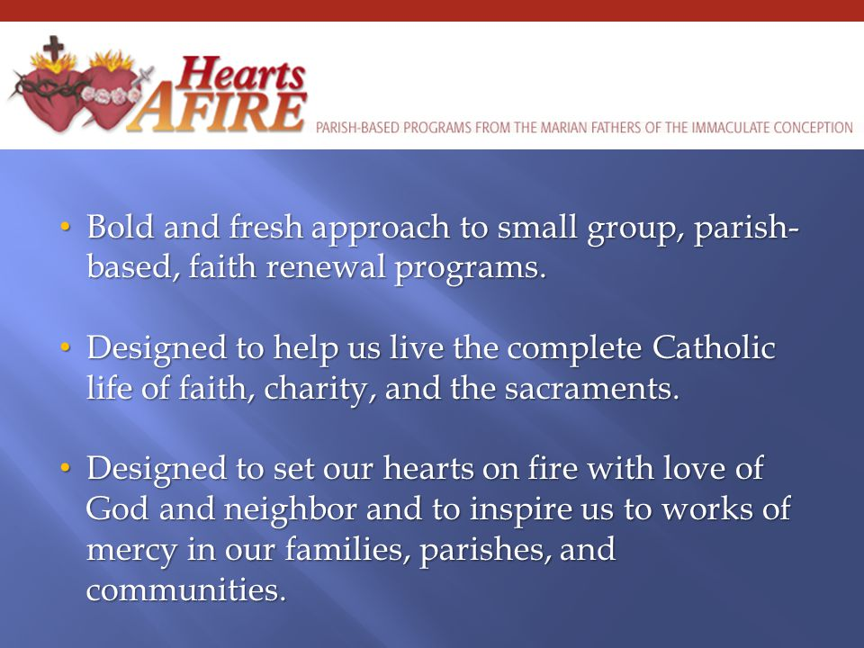 Bold and fresh approach to small group, parish- based, faith renewal programs.