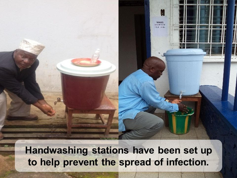 Handwashing stations have been set up to help prevent the spread of infection.
