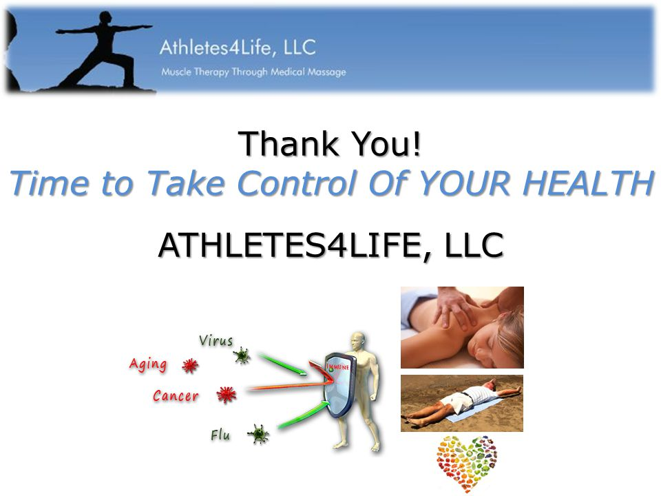 Thank You! Time to Take Control Of YOUR HEALTH ATHLETES4LIFE, LLC