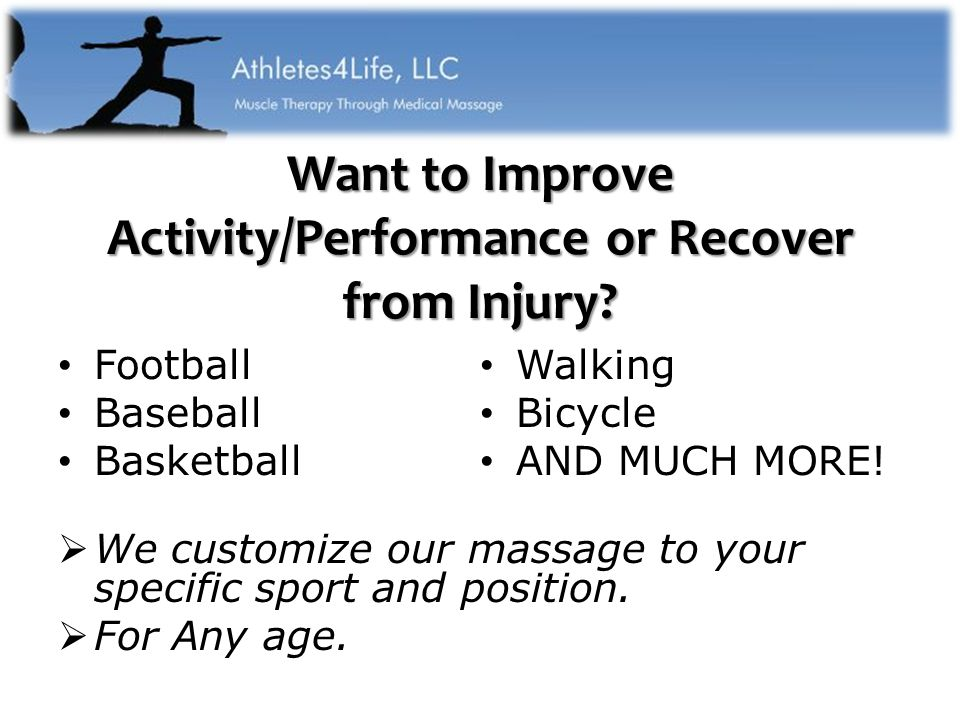 Want to Improve Activity/Performance or Recover from Injury.