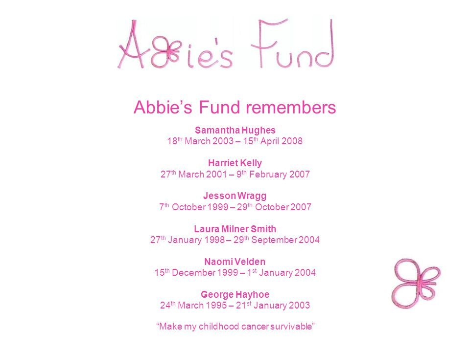 Abbie's Fund remembers Samantha Hughes 18 th March 2003 – 15 th April 2008 Harriet Kelly 27 th March 2001 – 9 th February 2007 Jesson Wragg 7 th October 1999 – 29 th October 2007 Laura Milner Smith 27 th January 1998 – 29 th September 2004 Naomi Velden 15 th December 1999 – 1 st January 2004 George Hayhoe 24 th March 1995 – 21 st January 2003