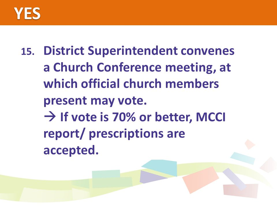 YES 15. District Superintendent convenes a Church Conference meeting, at which official church members present may vote.  If vote is 70% or better, M