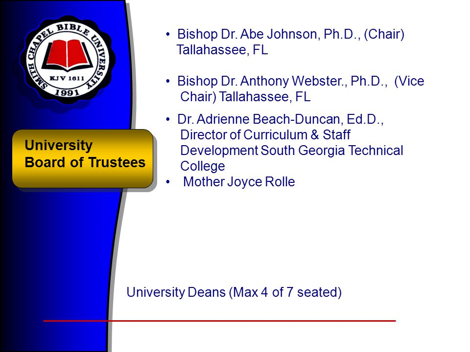 University Board of Trustees Bishop Dr.Abe Johnson, Ph.D., (Chair) Tallahassee, FL Bishop Dr.
