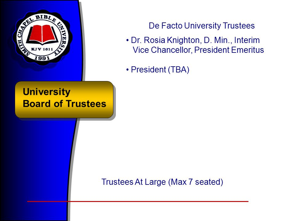 University Board of Trustees De Facto University Trustees Dr.