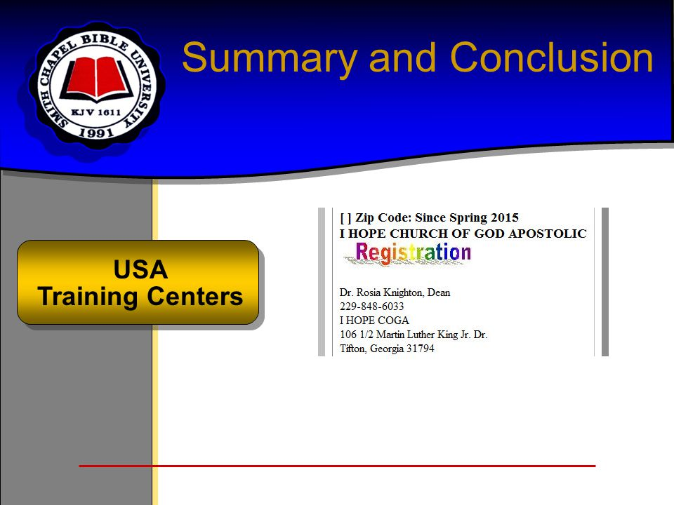 Summary and Conclusion USA Training Centers