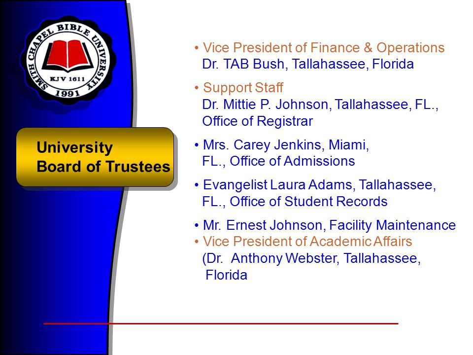 University Board of Trustees Vice President of Finance & Operations Dr.