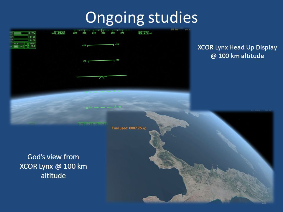 Ongoing studies XCOR Lynx Head Up Display @ 100 km altitude God's view from XCOR Lynx @ 100 km altitude 16