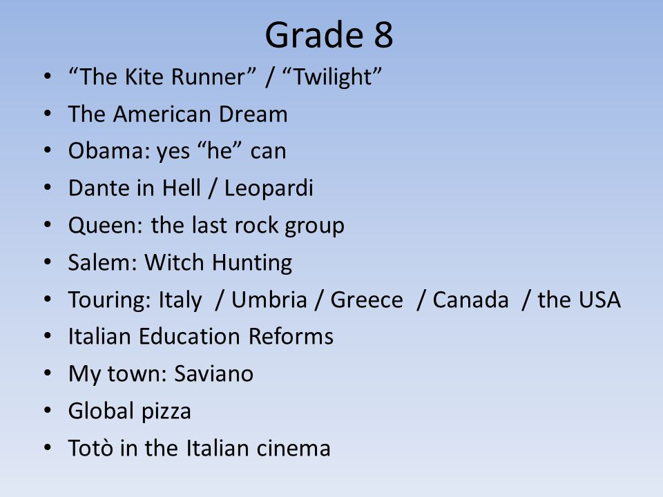 """Grade 8 """"The Kite Runner"""" / """"Twilight"""" The American Dream Obama: yes """"he"""" can Dante in Hell / Leopardi Queen: the last rock group Salem: Witch Hunting"""