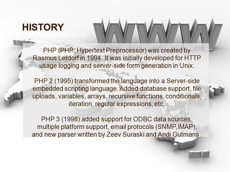 PHP (PHP: Hypertext Preprocessor) was created by Rasmus Lerdorf in 1994.