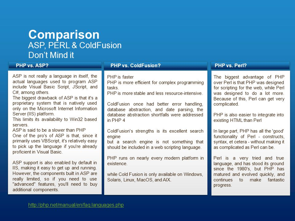 ASP, PERL & ColdFusion Don't Mind it Comparison http://php.net/manual/en/faq.languages.php PHP is faster PHP is more efficient for complex programming tasks.