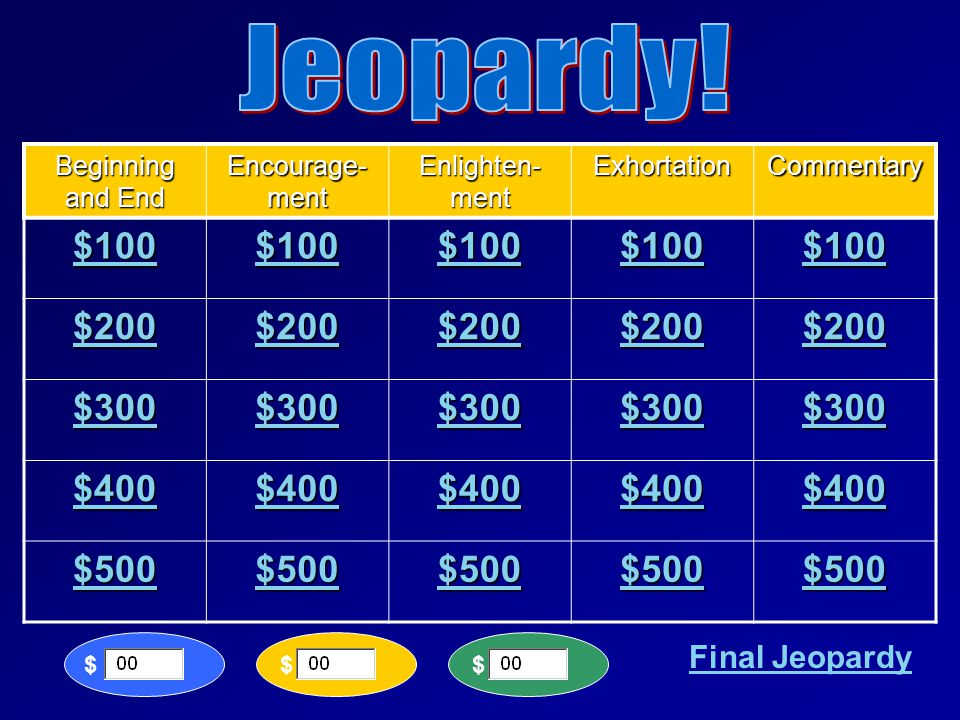 LET'S PLAY JEOPARDY!! 2Thessalonians