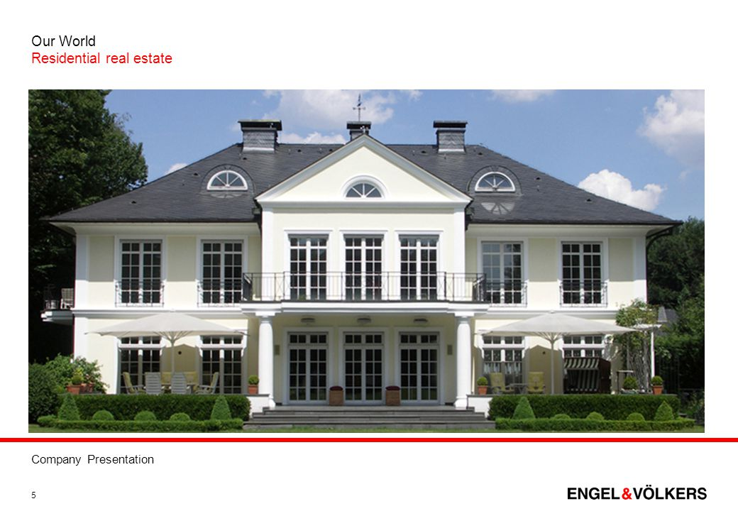 Company Presentation 5 Our World Residential real estate