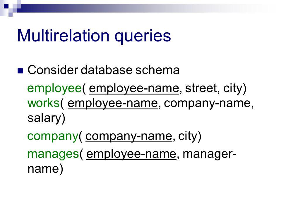 Multirelation queries Consider database schema employee( employee-name, street, city) works( employee-name, company-name, salary) company( company-name, city) manages( employee-name, manager- name)