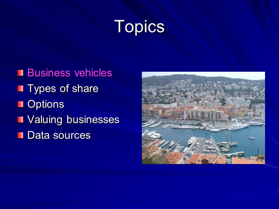 Topics Business vehicles Types of share Options Valuing businesses Data sources
