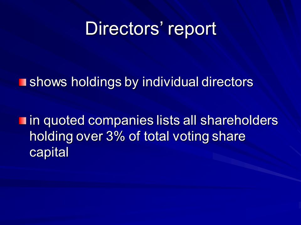 Directors' report shows holdings by individual directors in quoted companies lists all shareholders holding over 3% of total voting share capital