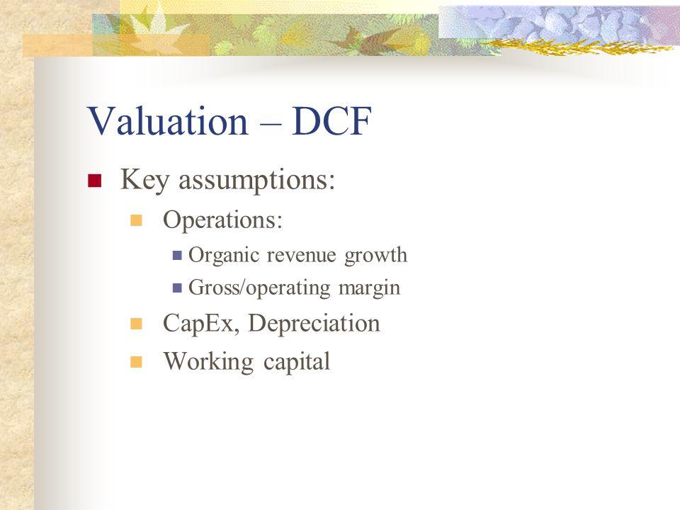 Valuation – DCF Key assumptions: Operations: Organic revenue growth Gross/operating margin CapEx, Depreciation Working capital
