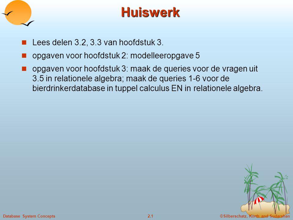 ©Silberschatz, Korth and Sudarshan2.1Database System Concepts Huiswerk Lees delen 3.2, 3.3 van hoofdstuk 3. opgaven voor hoofdstuk 2: modelleeropgave