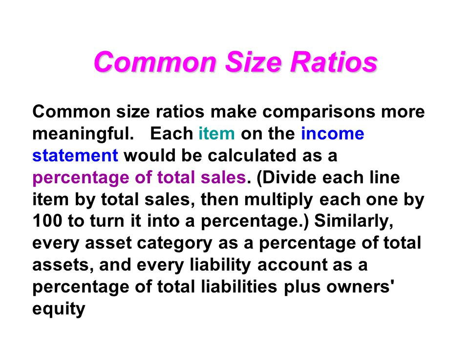 Common Size Ratios Common size ratios make comparisons more meaningful.