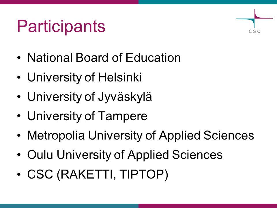 Participants National Board of Education University of Helsinki University of Jyväskylä University of Tampere Metropolia University of Applied Sciences Oulu University of Applied Sciences CSC (RAKETTI, TIPTOP)