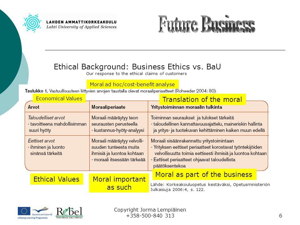 Copyright Jorma Lempiäinen +358-500-840 3137 Performance Ethic Part of The BaU Out of Th BaU Redneck Strategy Green Strategy Green values – Green Strategy.