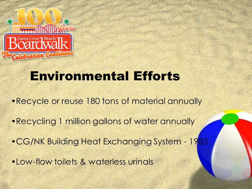 Environmental Efforts Recycle or reuse 180 tons of material annually Recycling 1 million gallons of water annually CG/NK Building Heat Exchanging System - 1983 Low-flow toilets & waterless urinals
