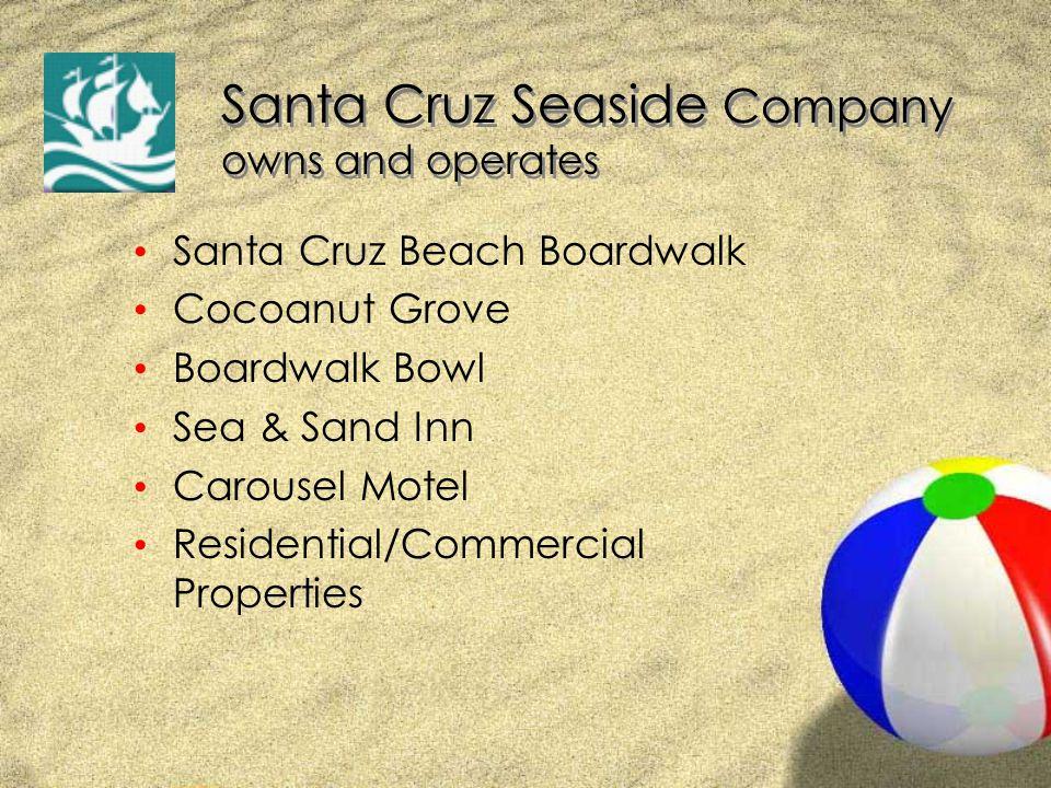 Santa Cruz Seaside Company owns and operates Santa Cruz Beach Boardwalk Cocoanut Grove Boardwalk Bowl Sea & Sand Inn Carousel Motel Residential/Commercial Properties