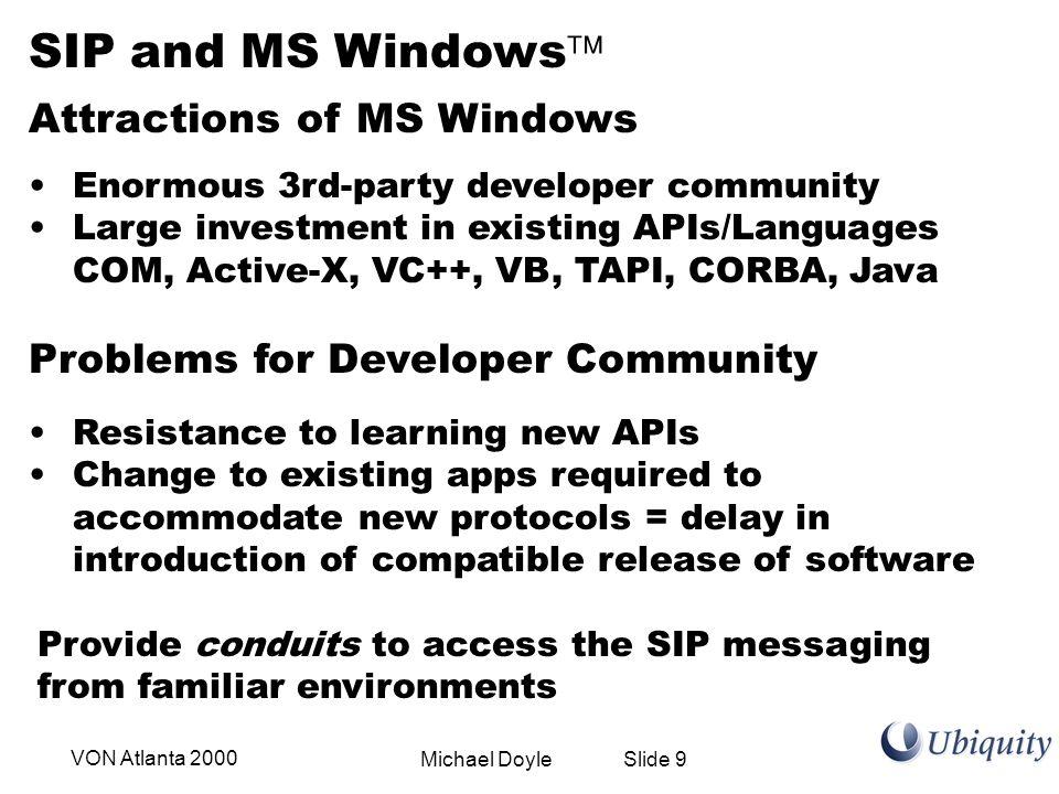 Michael Doyle Slide 10VON Atlanta 2000 ActiveX SIP UA TSP IE4/5 Outlook Pure Java App