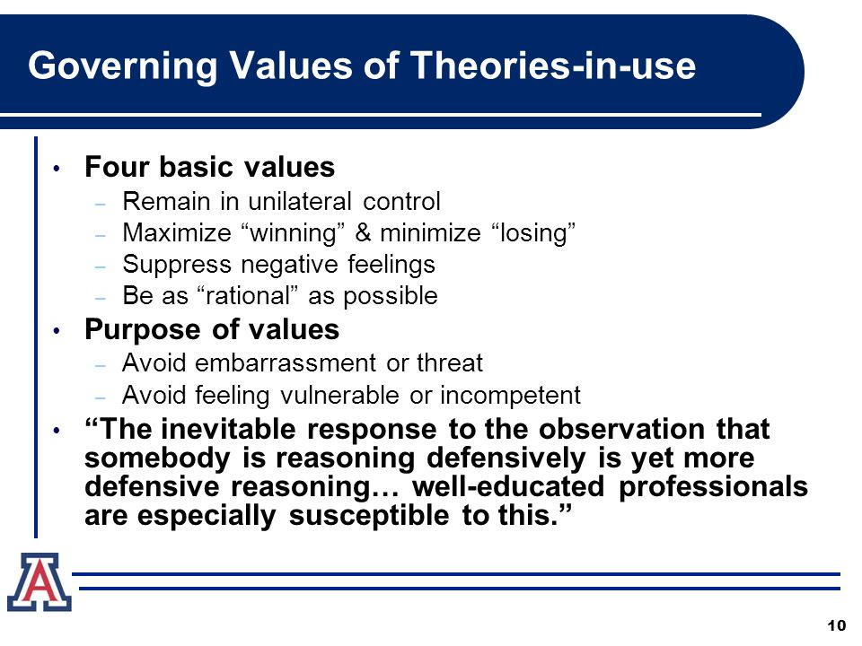 Governing Values of Theories-in-use Four basic values – Remain in unilateral control – Maximize winning & minimize losing – Suppress negative feelings – Be as rational as possible Purpose of values – Avoid embarrassment or threat – Avoid feeling vulnerable or incompetent The inevitable response to the observation that somebody is reasoning defensively is yet more defensive reasoning… well-educated professionals are especially susceptible to this. 10