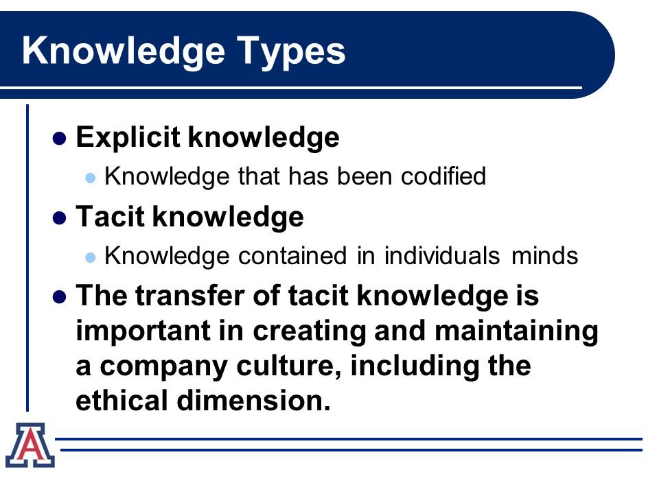 Knowledge Types Explicit knowledge Knowledge that has been codified Tacit knowledge Knowledge contained in individuals minds The transfer of tacit knowledge is important in creating and maintaining a company culture, including the ethical dimension.