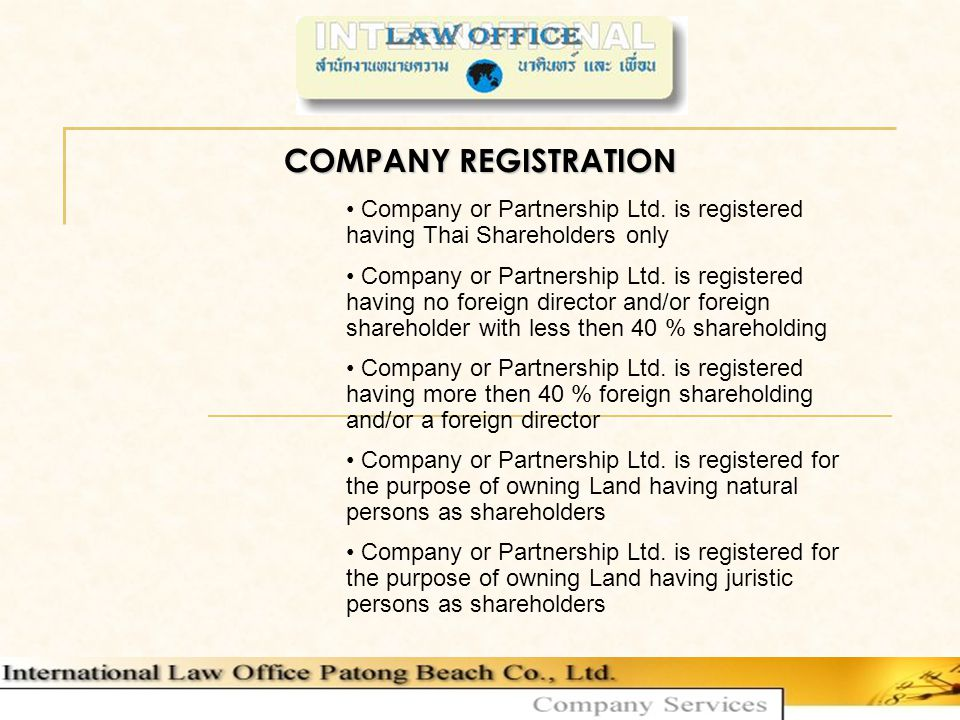 COMPANY REGISTRATION Company or Partnership Ltd.