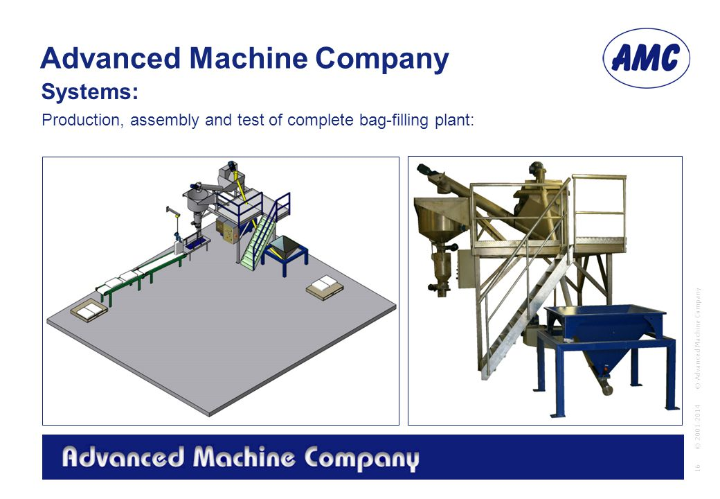 Advanced Machine Company © Advanced Machine Company 16 © 2001-2014 Production, assembly and test of complete bag-filling plant: Systems: