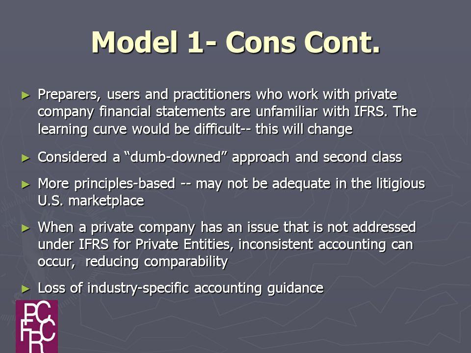 Model 1- Cons Cont.