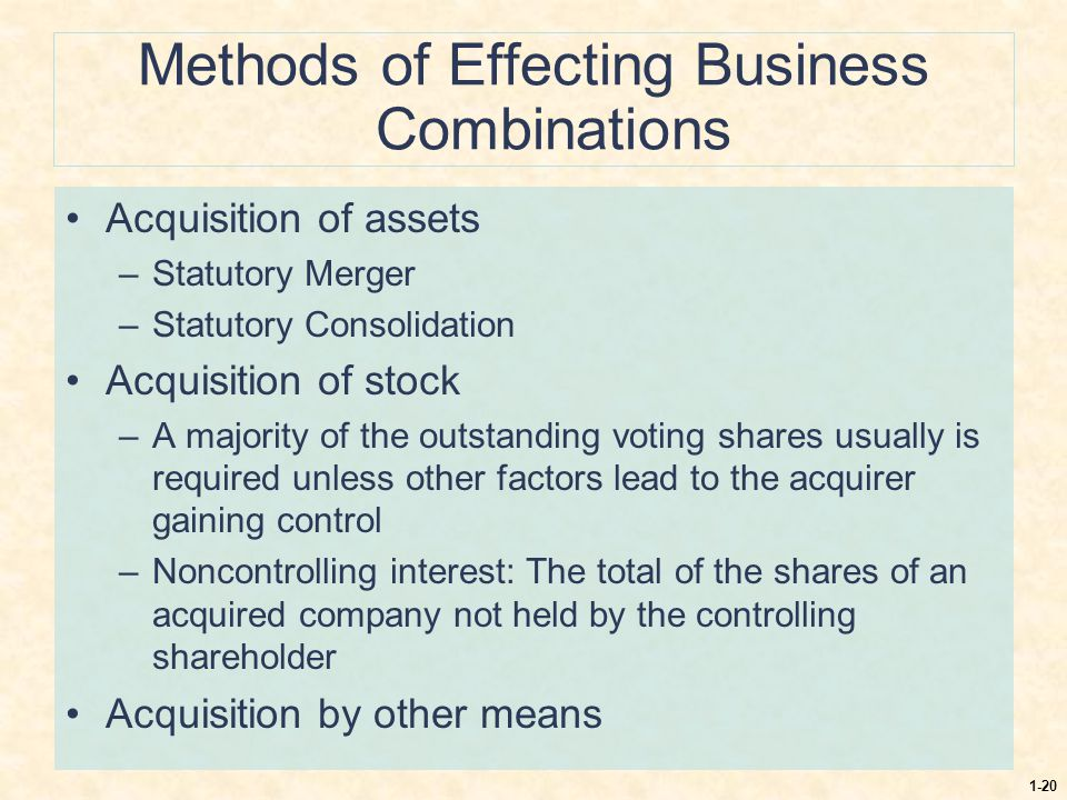 1-20 Methods of Effecting Business Combinations Acquisition of assets –Statutory Merger –Statutory Consolidation Acquisition of stock –A majority of t