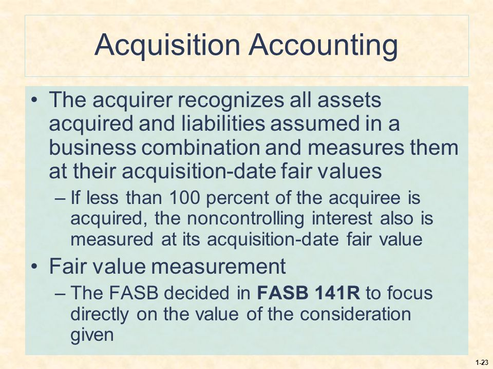 1-23 Acquisition Accounting The acquirer recognizes all assets acquired and liabilities assumed in a business combination and measures them at their a
