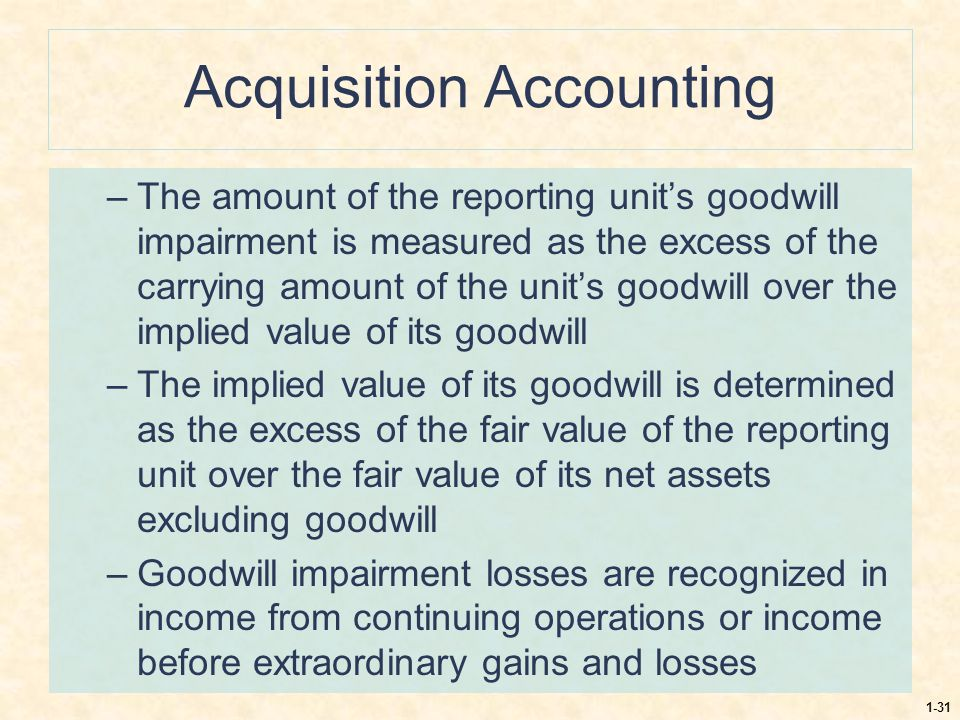 1-31 Acquisition Accounting –The amount of the reporting unit's goodwill impairment is measured as the excess of the carrying amount of the unit's goo