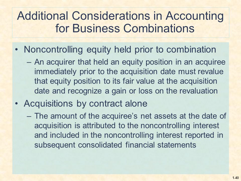1-40 Additional Considerations in Accounting for Business Combinations Noncontrolling equity held prior to combination –An acquirer that held an equit