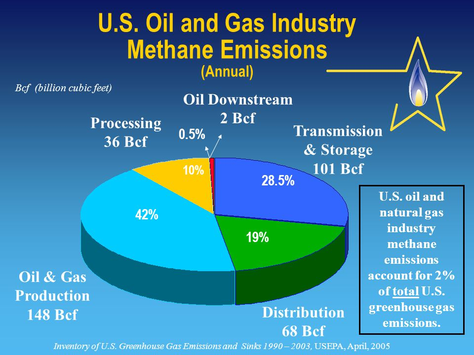 Oil Downstream 2 Bcf 0.5% Transmission & Storage 101 Bcf Oil & Gas Production 148 Bcf Processing 36 Bcf Distribution 68 Bcf 42% 28.5% 19% 10% U.S.