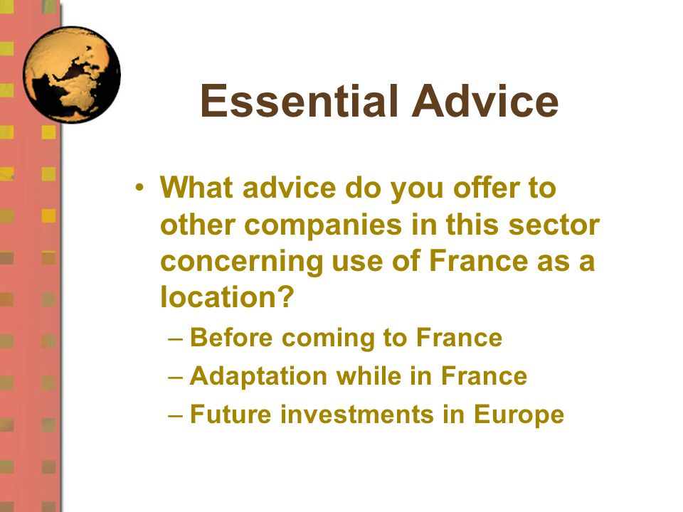Essential Advice What advice do you offer to other companies in this sector concerning use of France as a location.