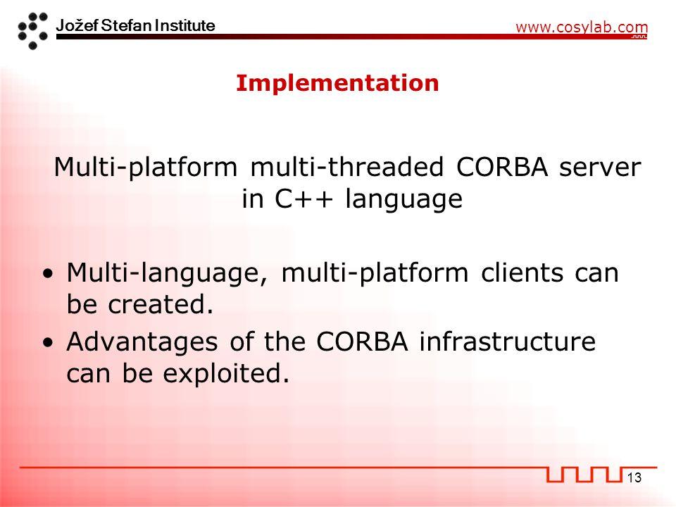 Jožef Stefan Institute www.cosylab.com 13 Implementation Multi-language, multi-platform clients can be created.