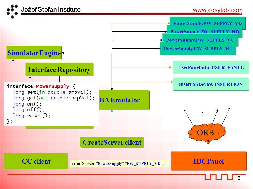 Jožef Stefan Institute www.cosylab.com 16 PowerSupply.PW_SUPPLY_VD createServer( PowerSupply , PW_SUPPLY_VD ); IDCPanel ORB PowerSupply.PW_SUPPLY_HD PowerSupply.PW_SUPPLY_VU PowerSupply.PW_SUPPLY_HU UserPanelInfo.