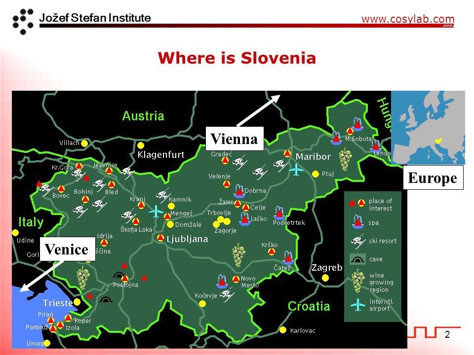 Jožef Stefan Institute www.cosylab.com 2 Where is Slovenia Venice Vienna Europe