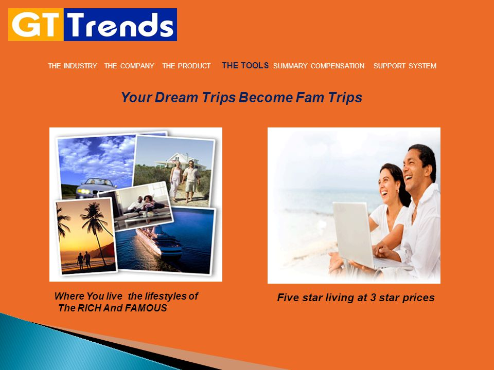 THE INDUSTRY THE COMPANY THE PRODUCT THE TOOLS SUMMARY COMPENSATION SUPPORT SYSTEM Your Dream Trips Become Fam Trips Where You live the lifestyles of The RICH And FAMOUS Five star living at 3 star prices